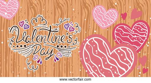 valentines day card with hearts in wooden background