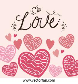 valentines day card with love lettering and decoration