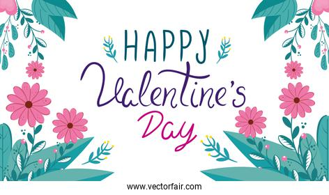 happy valentines day card with flowers and leafs