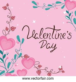 valentines day card with hearts and leafs