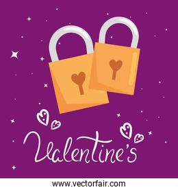 valentines day card with padlocks