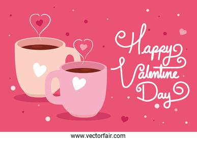 happy valentines day card with cups coffee and hearts