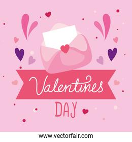 valentines day card with envelope and decoration