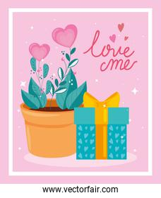 happy valentines day with flowers and gift box