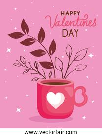 happy valentines day card with cup coffee and leafs