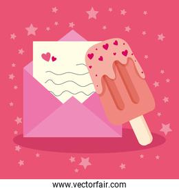 envelope mail with ice cream in stick and hearts decoration