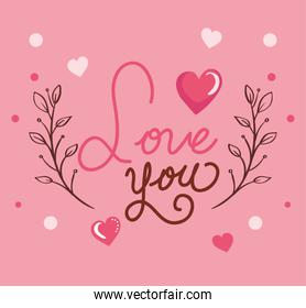 happy valentines day card with love you lettering