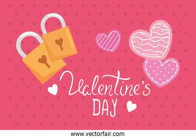valentines day card with hearts and padlock