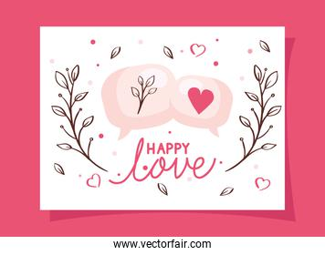 happy valentines day with speech bubbles and decoration