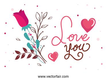 happy valentines day cartel  with love you lettering and decoration