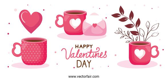 happy valentines day card with cups coffee and decoration