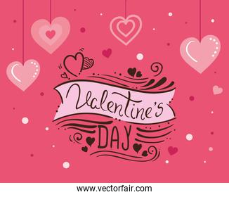 happy valentines day card with hearts and decoration