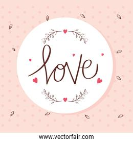 happy valentines day card with love lettering and decoration