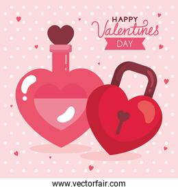 happy valentines day card and fragrance with padlock