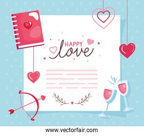 happy valentines day card with notebook and decoration