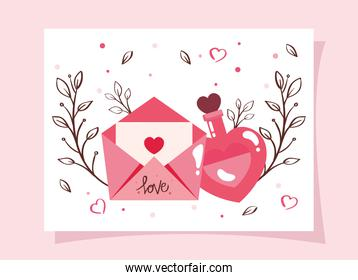happy valentines day card and fragrance with envelope
