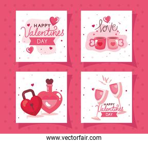 set cards of happy valentines day with decoration