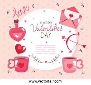happy valentines day card with icons decoration