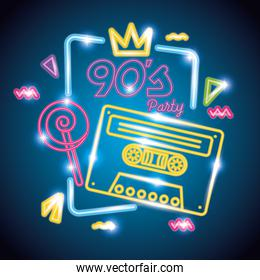 cassette with candy of nineties retro neon light