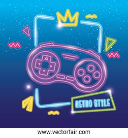 control game nineties style neon light
