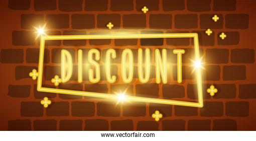 label discount neon light in wall