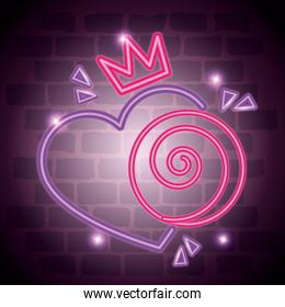 cute heart love with crown neon light