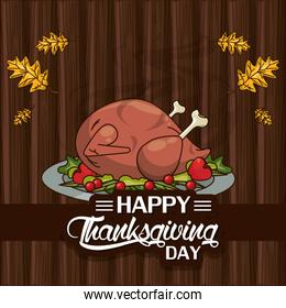 happy thanksgiving day card with turkey cooking