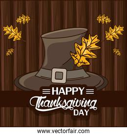 happy thanksgiving day card with pilgrim hat