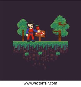 video game warrior in pixelated scene