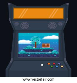 video game pixelated retro machine icon