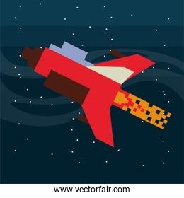 video game spaceship flying  pixelated