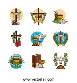 bundle of first communion set icons