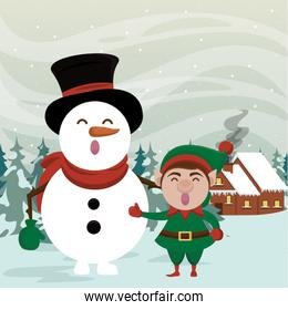 christmas snowscape scene with snowman