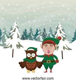 christmas snowscape scene with cute elf character