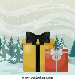 christmas snowscape scene with giftboxes presents