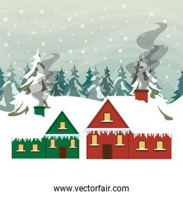 christmas snowscape scene with house
