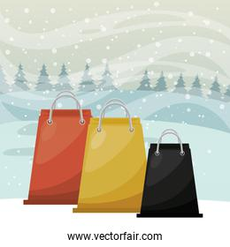christmas snowscape scene with shopping bag
