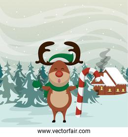 christmas snowscape scene with reindeer character