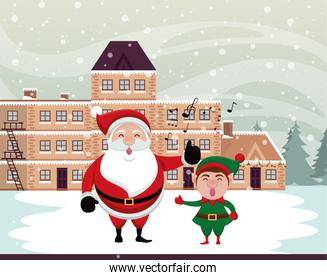 christmas snowscape scene with santa claus and elf