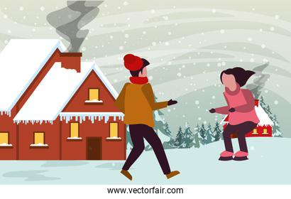 christmas snowscape scene with kids skating
