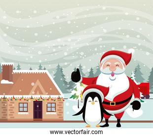 christmas snowscape scene with santa claus and penguin
