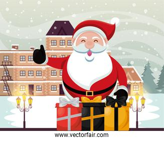 christmas snowscape scene with santa claus and gifts