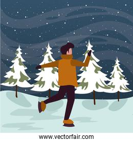christmas snowscape scene with young boy skating