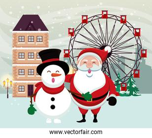 christmas snowscape scene with snowman and santa claus