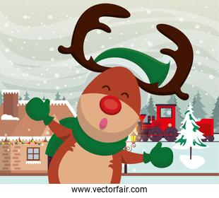 christmas snowscape scene with reindeer