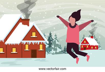 christmas snowscape scene with little girl jumping