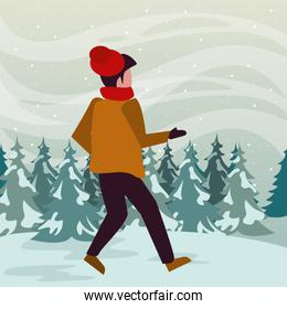 snowscape scene with young boy