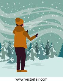 christmas snowscape scene with young boy