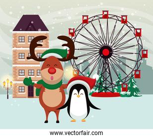 christmas snowscape poster with reindeer and penguin