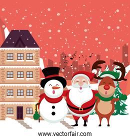 christmas snowscape scene with cute characters